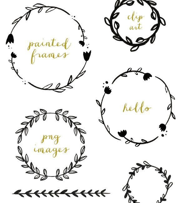 And Black Clip Floral Art Garland White