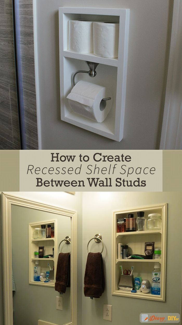 Recessed Shelves Between Studs Bathroom