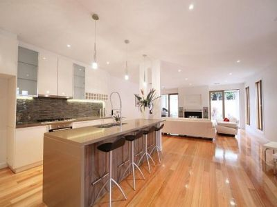 Homey feel to the kitchen which feels quite modern. Light ...