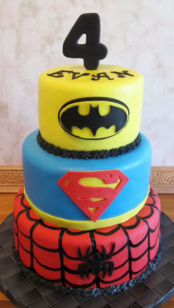 3 Tier Super Hero Cake Party Cakes Pinterest Super