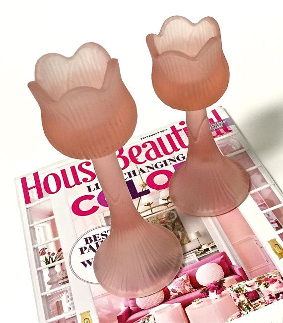 Pink Candle Holders Tulip Frosted