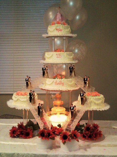 Nanisetc Coral Quince Cake Quinceanera Cakes