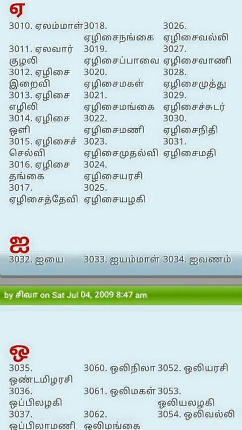 Tamil Names Pure Girl Baby