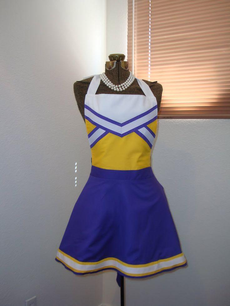 Any College Football Cheerleader Team Colors Hostess Apron
