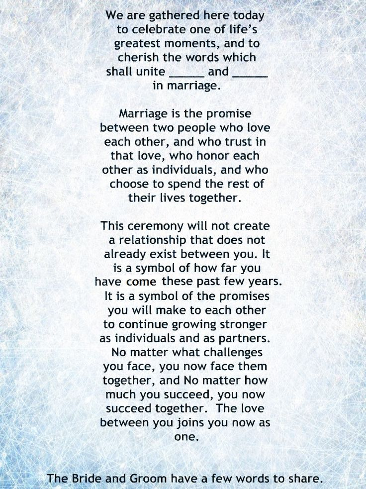 Ordained Minister Wedding Ceremony Script