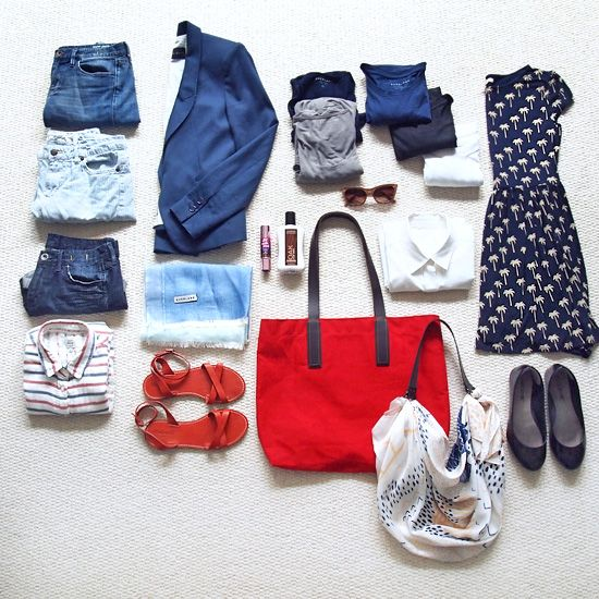 Red And Capsule Blue Wardrobe Travel