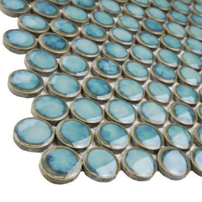 Merola Tile Hudson Penny Round Marine 12 In X 12 1 4 In