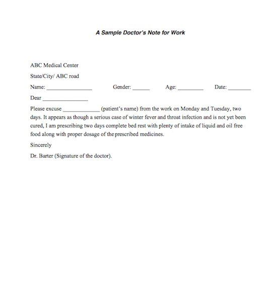 Fake Doctors Note Template Signature