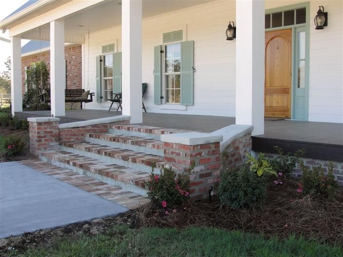 Pics Of Brick Steps Inspiring Brick Front Porch Steps 6 Front | Stone Front Porch Steps Designs | House | Stained Concrete | Round | Stone Walkway | Flagstone