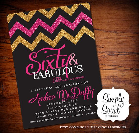 Glitter Glam Surprise 60th Birthday Party Invitation With