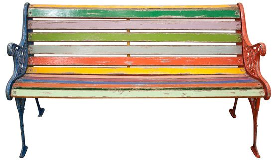 Upcycled Painted Wood Bench With Cast Iron Frame Great