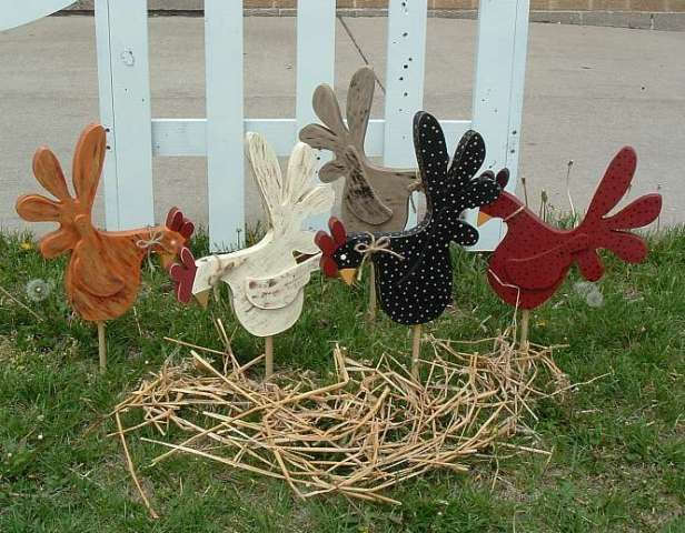 Wooden Chicken Decorations