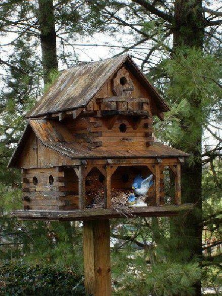 Wooden Post Bird Feeder
