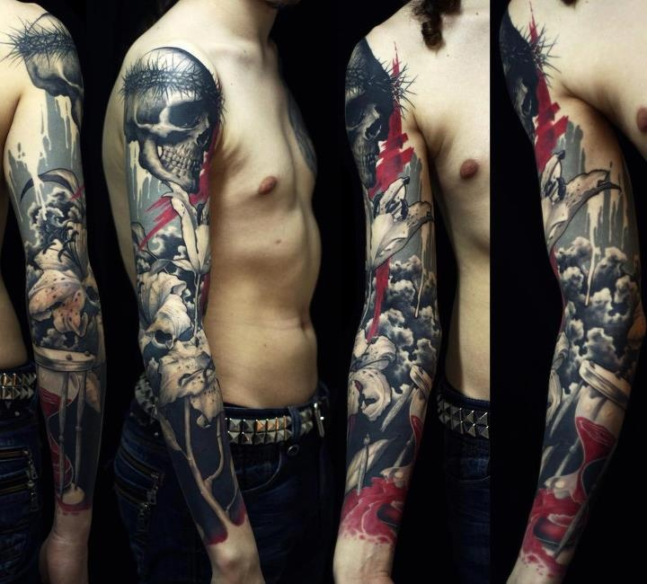 Black Gray Polka And Red Tattoos