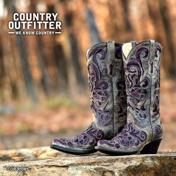 Corral Purple Inlay Boot