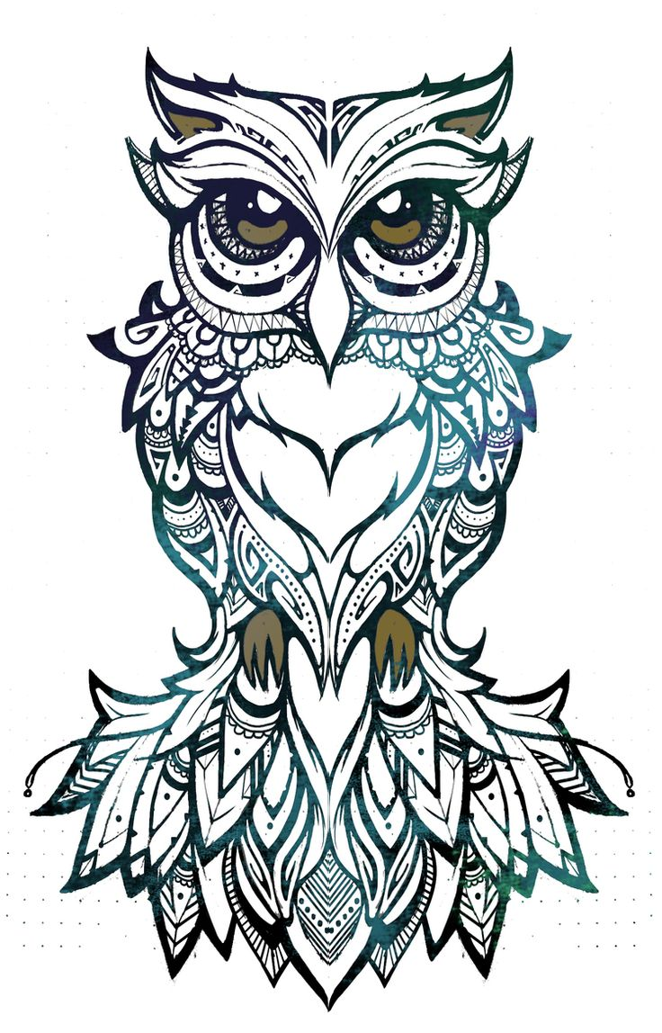 Black And White Tribal Owl Drawings