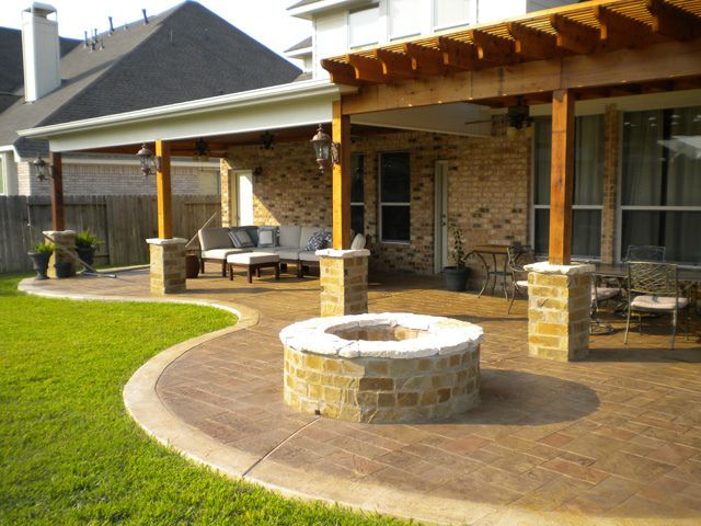 Fire Pit Pergola Patio Only Thing Missing Is A Glass Of