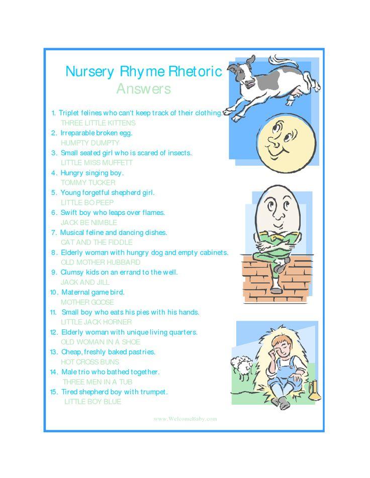 Name Nursery Rhyme Game Printable