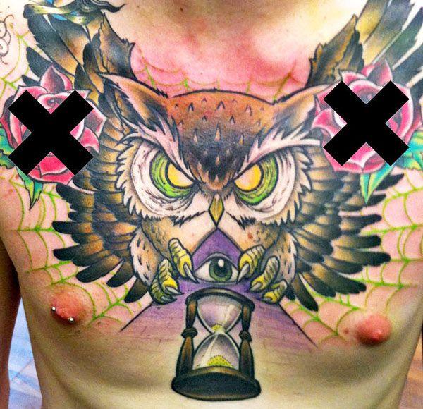 Men Neo Trad Owl Tattoo