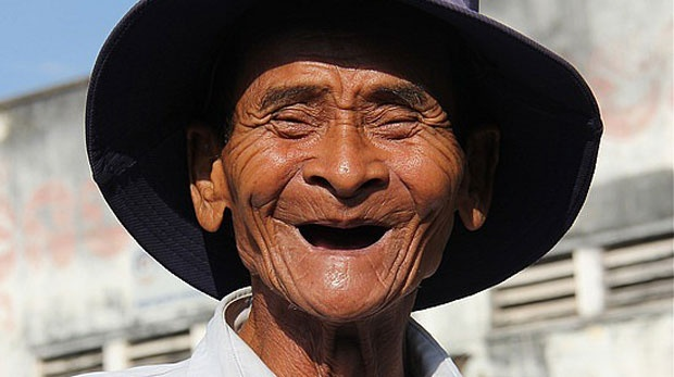 Man No Teeth Laughing
