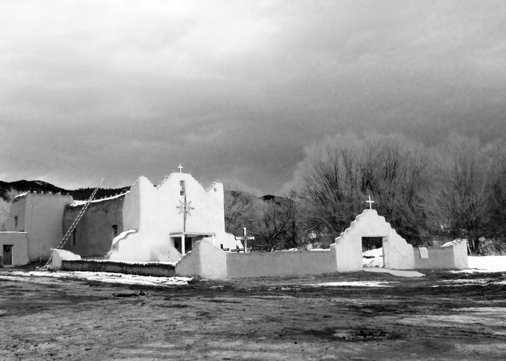 White Black Pueblo Buildings Old Co And
