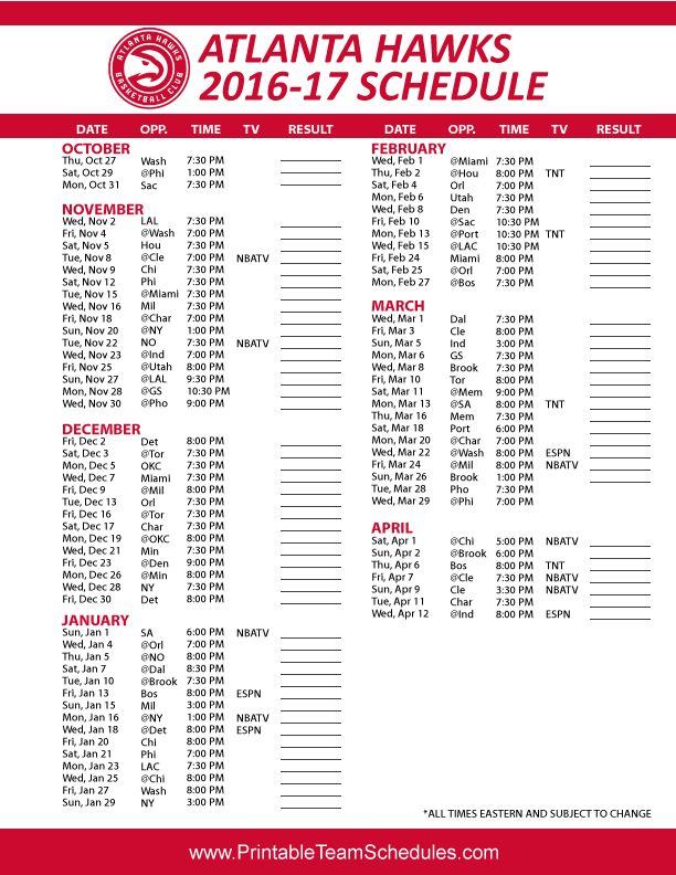 Printable Schedule Home Atlanta Hawks