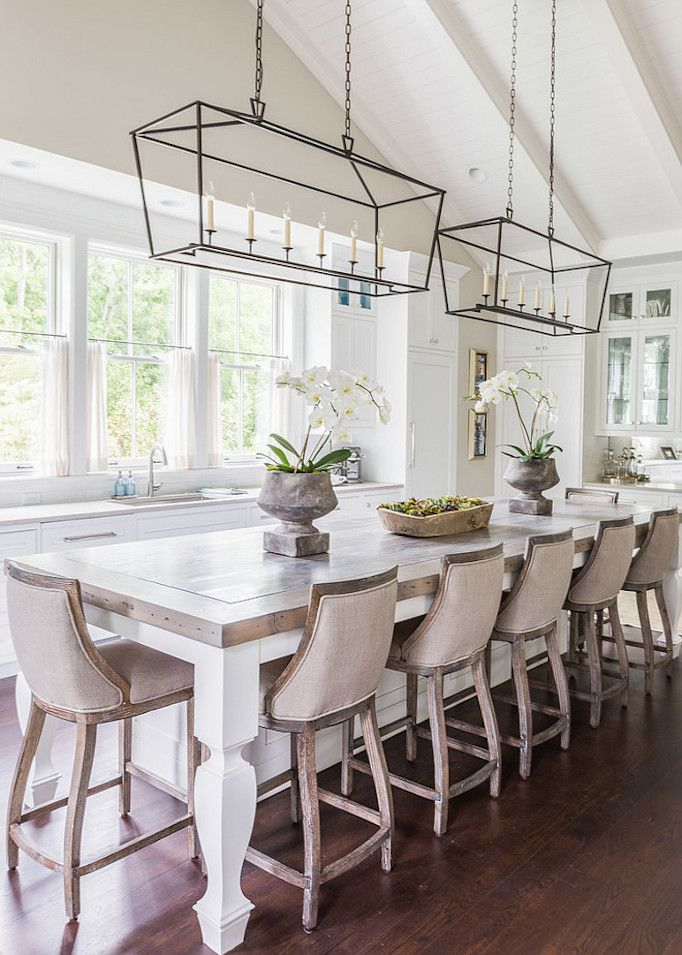 French Style Dining Area In Kitchen With Linen Covered