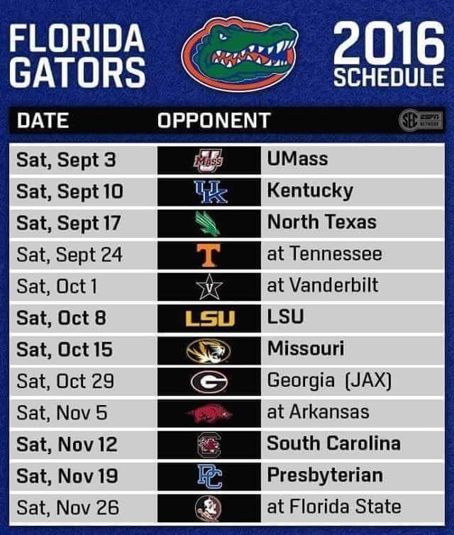 Florida Gators Football Schedule 2016
