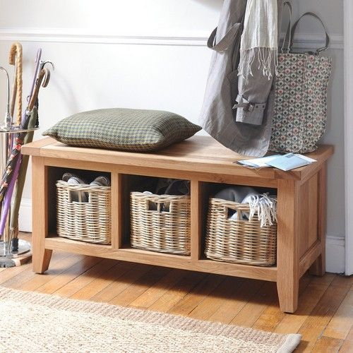 Montague Oak Storage Bench With 3 Baskets Foyers