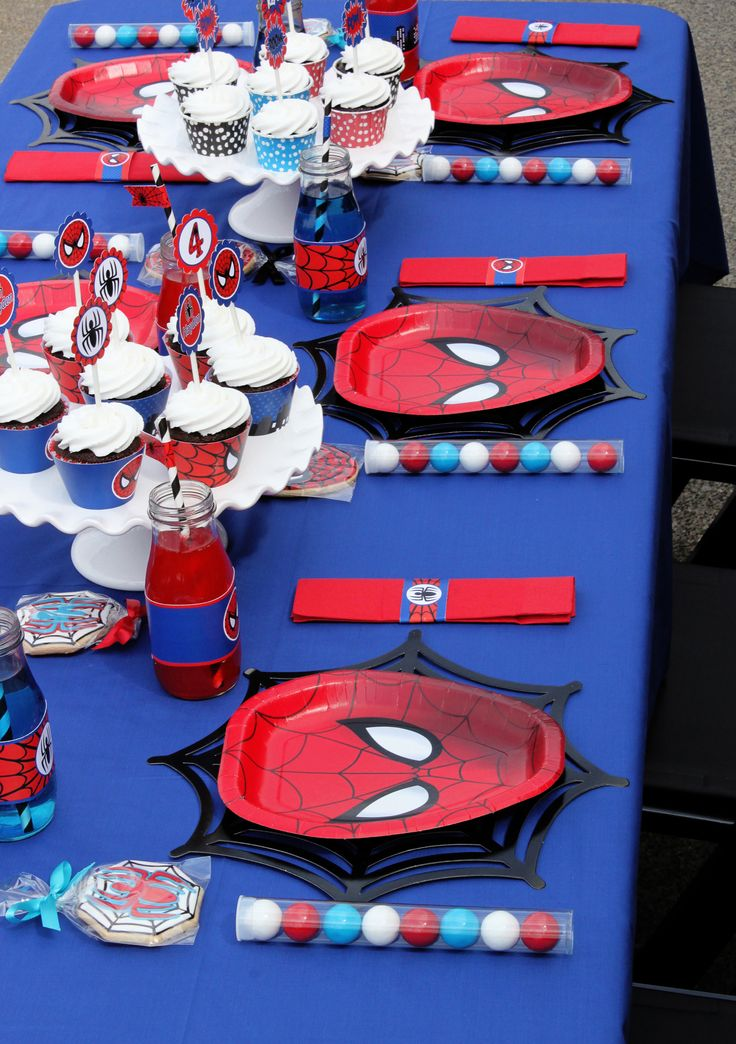 Spiderman Birthday Party Table Setting Spiderman Birthday