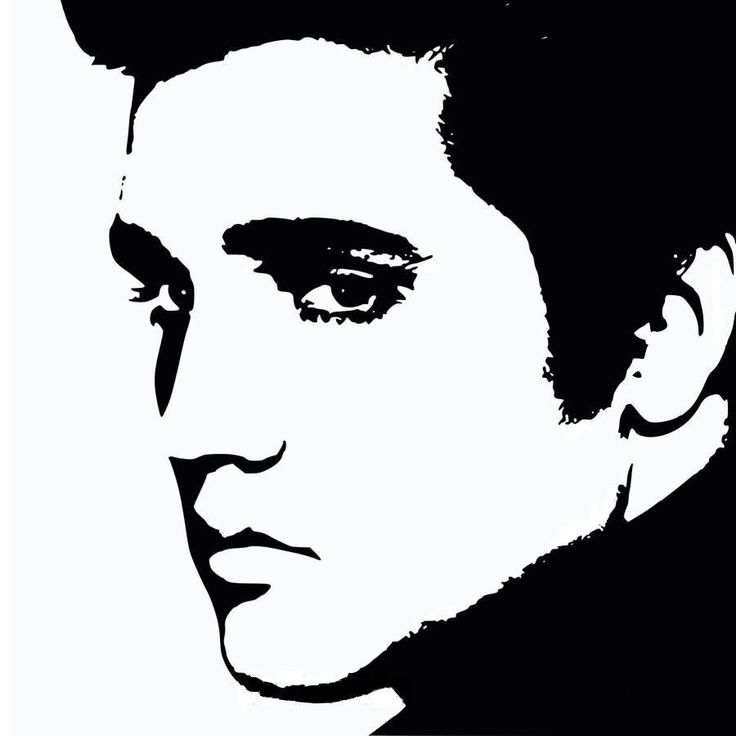 Elvis Presley Black And White Stencil
