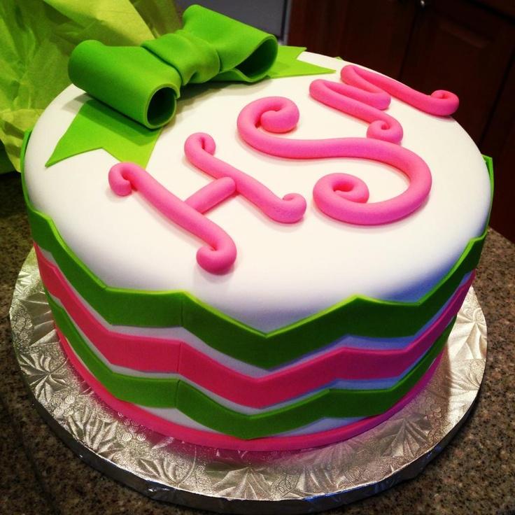Monogram Chevron Birthday Cake Cakes And Decorating