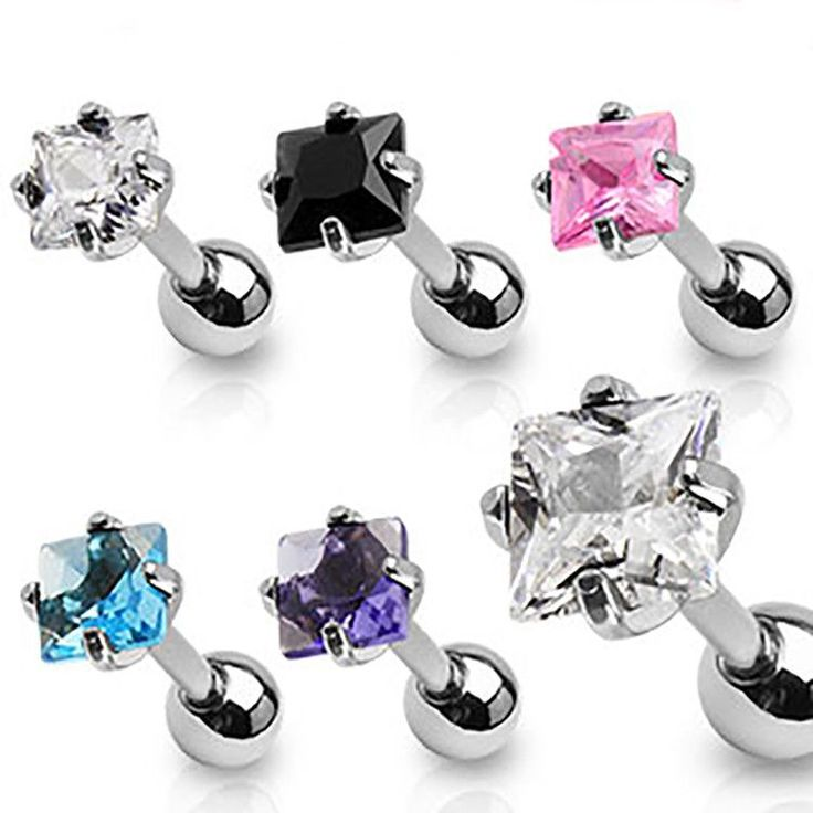 Square Diamond Stud Earrings Ear