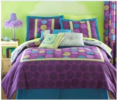 Twin Size Modern Comforter Purple Dot Yellow Bohemian