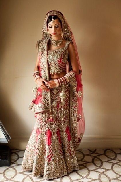 Work Saree Red Butti Heavy Bridal Border