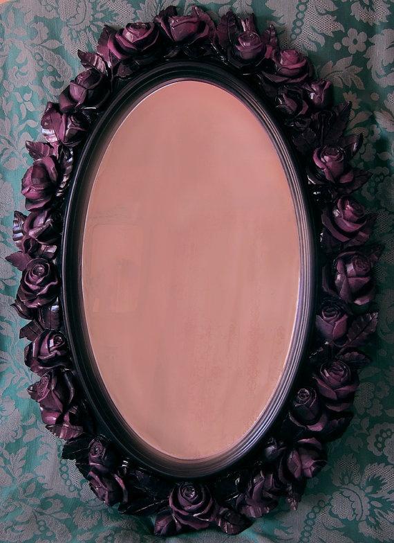 Black Rose Mirror Syroco Style Purple Fuchsia Highlights