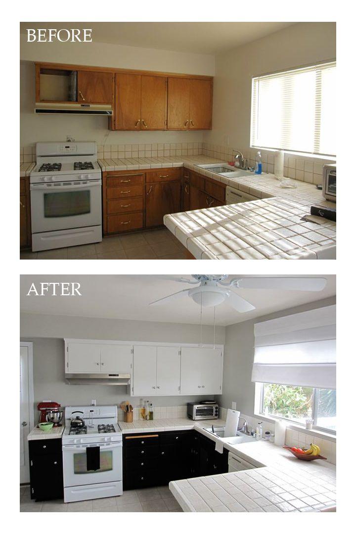 Diy Kitchen Update Light Upper Dark Lower Cabinets
