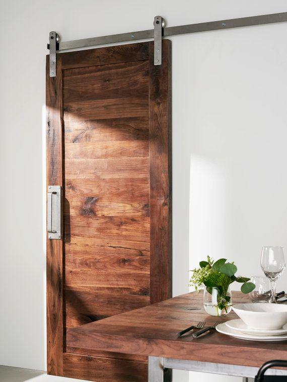 Custom Built Solid Walnut Barn Door Pantry Natural And