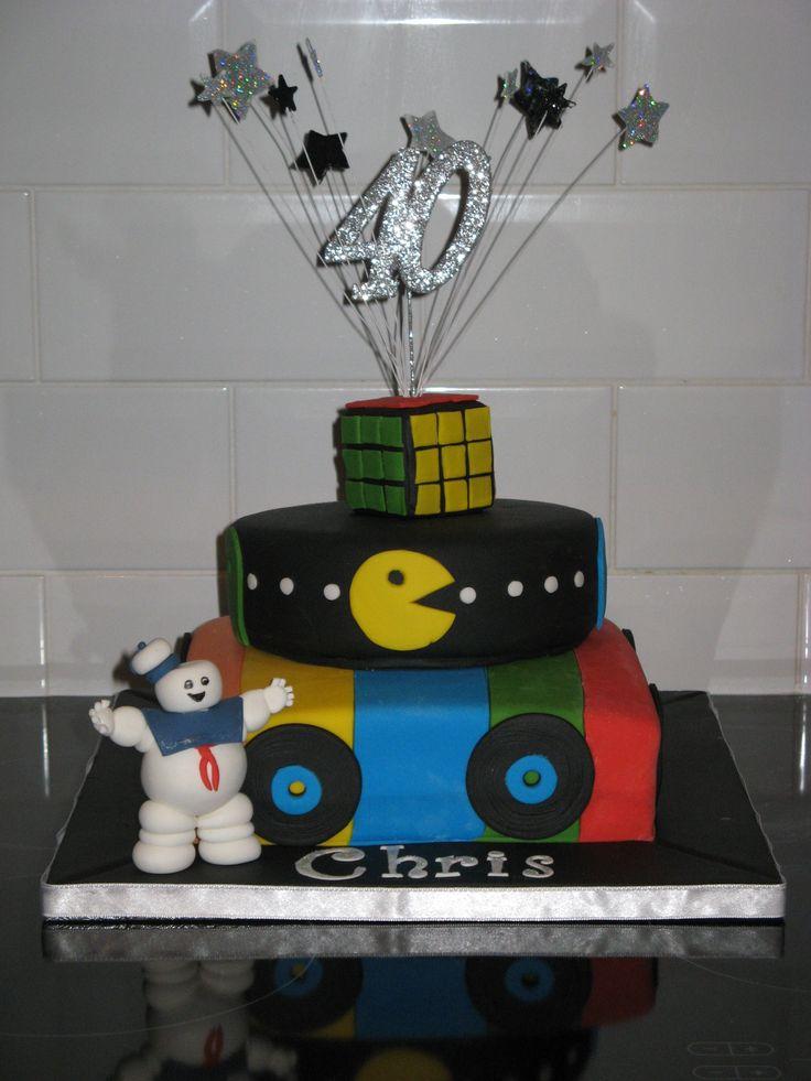 40th Birthday Cake 2 Tier 80 S Themed 40th Birthday Cake