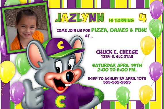 Printable Invitations Chuck E Cheese