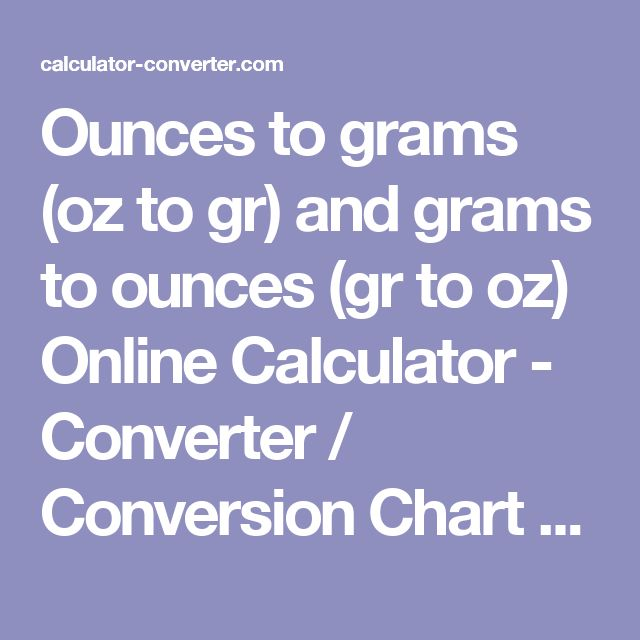 Gr To Oz Conversion Chart