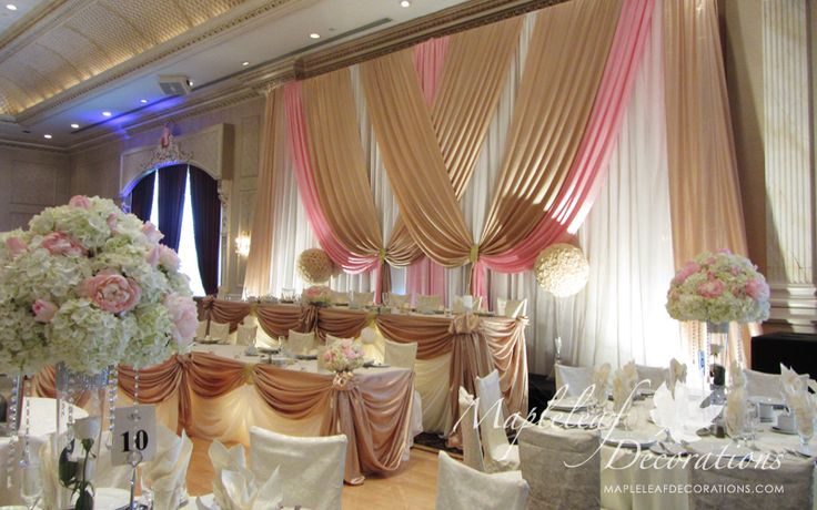 Pink And Champagne Wedding Table Decorations