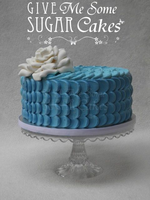 Blue Buttercream Petal Cake With White Fondant Rose