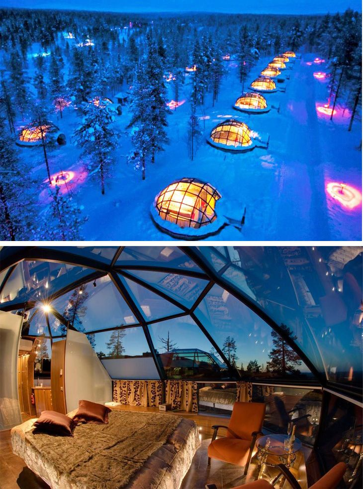 Finland Igloos Under Northern Lights