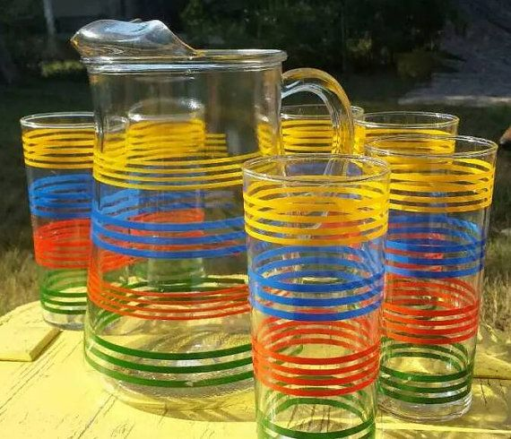 Antique Striped Pitcher And Glasses Set Etsy Glasses