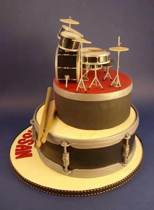 Drum Set Fondant Cake Music Fondant Cake Pinterest