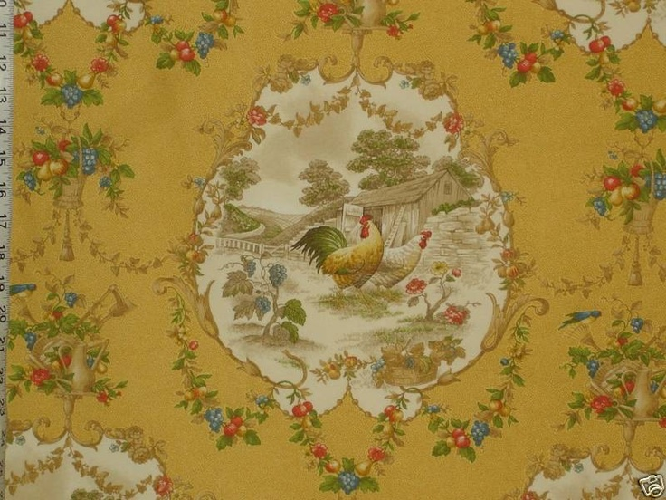 Rooster Toile Fabric Chicken Yellow Country Novelty