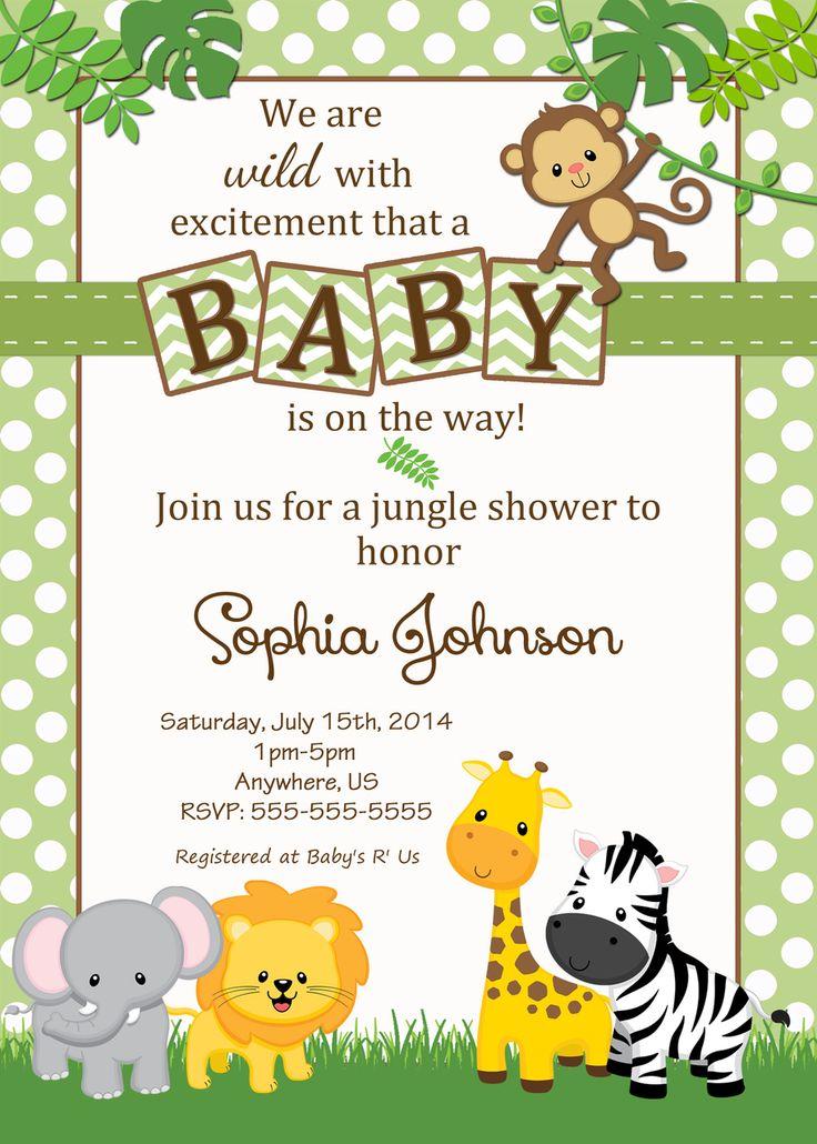 Cheap Baby Shower Invitations Jungle Theme
