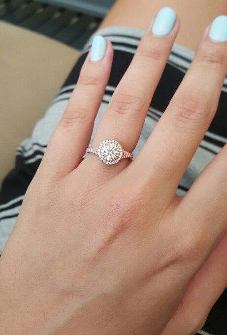 Rose Gold Diamond Halo Engagement Ring From Brilliant Earth Fianc 233 Designed For Me I M A