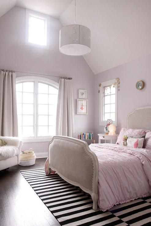 Light Pink Girl S Bedroom Features A Light Pink Walls